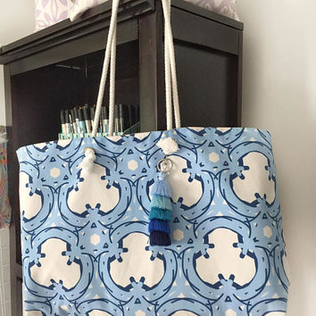 Blue Trellis Colorful Tote Bag with tassels (not shown), Bridesmaids Gift, Preppy Tote Bag, Beach Bag