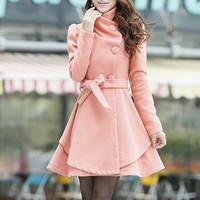 Wholesale Charming Turn-Down Collar Belt Embellished Pelpum Top Long Sleeves Slimming Overcoat For Women (KHAKI,M), Jackets & Coats - Rosewholesale.com
