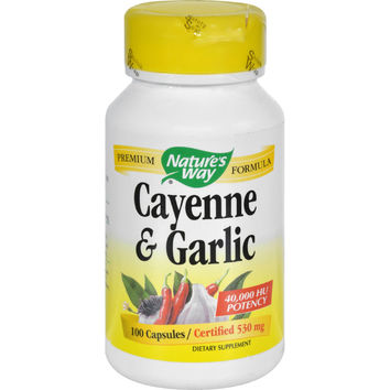 Nature`s Way Cayenne and Garlic - 100 Capsules