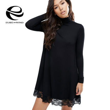 Plus Size Casual Long Sleeve Sexy Lace Sundress Party Dresses Desigual Women Dress 2017 Turtleneck Black Dress vestido feminino