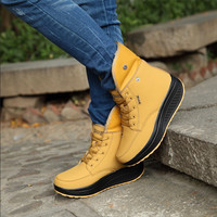 Winter  female plus velvet swing shoes snow platform  winter boots women thermal cotton-padded shoes flat ankle   boots