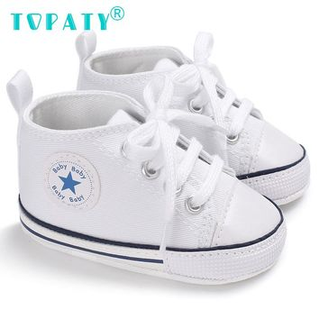 Brand New Newborn Sneakers Baby girls Boys Lace-up Canvas Shoes Active All Star Zapatos Bebe Toddler Shoes Infantil Sapatos