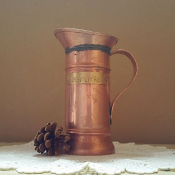 Antique Copper Demi Litre Measuring Pitcher