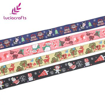 Lucia crafts 16mm Satin Embroidery Christmas Pattern Design Ribbons DIY Art Trim Ribbon Sewing Accessories 1yard/lot 040059022