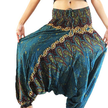 Boho clothing harem pants hippie pants paisley jumpsuit elastic pants women gypsy trousers