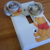 Winnie The Pooh Bear light switch cover Picture Vintage Disney Storybook 3D spiral paper rose Art Child Baby room nursery decor collectible