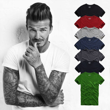 Round-neck Summer Cotton Short Sleeve T-shirts Men Bottoming Shirt [9910456579]
