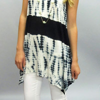 Mikki Sleeveless Knit Tie Dye Top: Ivory