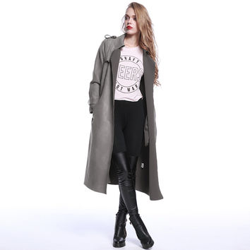 Turn Down Collar Long Sleeve Coat With Belt
