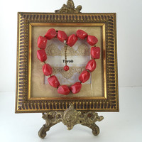 Red Heart Framed Picture Throb Love Valentine's Day Gift Encouragement Shadowbox Art Reclaimed Up cycled Repurposed Vintage Jewelry Art OOAK