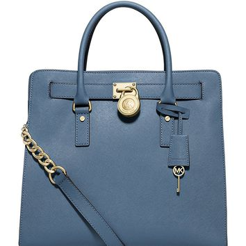 NEW AUTHENTIC MICHAEL KORS HAMILTON LARGE NS SHOULDER BUSINESS HANDBAG TOTE (Cornflower)