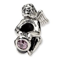 Reflection Beads Sterling Silver October Simulated CZ Antiqued Bead (18 x 14 mm)