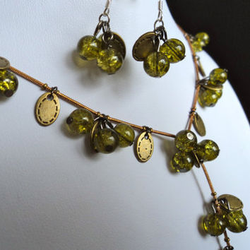 Stone Bead Necklace and Earrings Set Apple Green by Lunarpearl