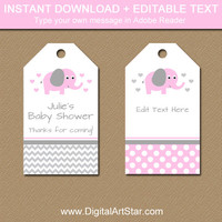 Pink and Gray Baby Shower Tags - Editable Baby Shower Hang Tags - Pink Elephant Baby Shower Thank You Tags - Printable Girl Baby Shower Tags
