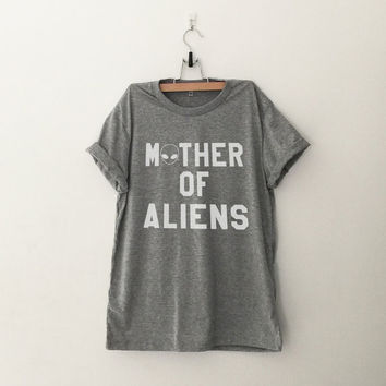 Mother of aliens tshirt gray fashion funny slogan womens girls ladies lady gift graphic tees sassy cute work out gym