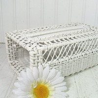 Vintage White Wicker Open Box - Retro BathRoom Organizer Bin - Chippy Bright Paint Cottage Chic Tissue / Kleenex / Guest Towel Holder