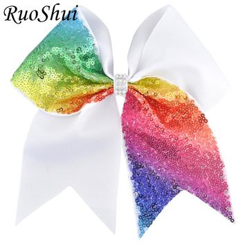 7 Inch Grils Large Grosgrain Ribbon Sequins Ponytail Cheer Bow Rhinestone Middle Alligator Clip For Children Hair Accessories