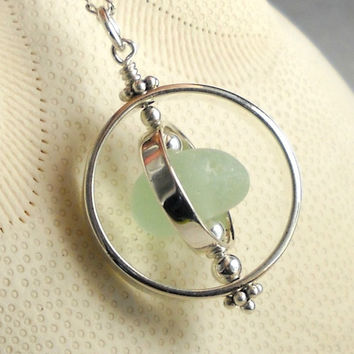 SPINNING Genuine Aqua Sea Glass Jewelry Sterling Silver And Eco Friendly