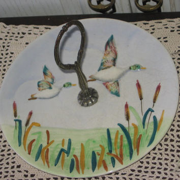 Flying Ducks  Platter Staffordshire Hand Painted England/Use Coupon Code CLEARINGOUT25 Must Be used at check out can not change after /S