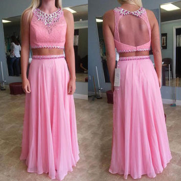 Two Piece A-Line Sleeveless Prom Dresses,Prom Dress