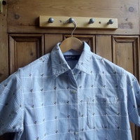 womens vintage shirt with flowers design / blue white checked / summer blouse UK 12 US 10