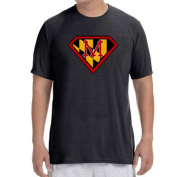 "Mens Short Sleeve Performance ""Maryland Super Runner"" Technical T-Shirt"