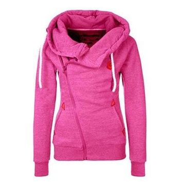 CREYCT9 WAQIA 2015 new European sports personality side zipper hooded cardigan sweater jacket [8940809671]
