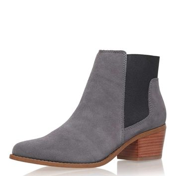 **Spider Grey Low Heel Ankle Boots by Miss KG - New In