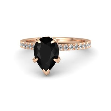 Pear Black Onyx 14K Rose Gold Ring with Rock Crystal