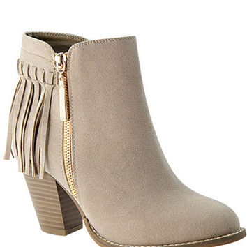 Kendra Suede Fringe Booties | Taupe