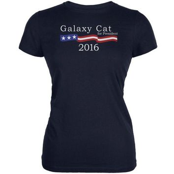 VONEG5F Election 2016 Galaxy Cat President Logo Funny Navy Juniors Soft T-Shirt