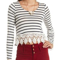 Long Sleeve Crochet-Trimmed Striped Crop Top - Ivory Combo