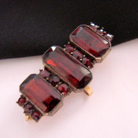 Victorian Garnet Brooch Watch Pin * Chatelaine * 10K Gold * Gold Gilt * Emerald Cut Garnets * Antique Jewelry * Jewellery
