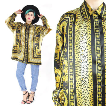 90s Leopard Print Satin Shirt Hip Hop Baroque Shirt Long Sleeve Unisex Shirt Button Down Shirt Gold Versace Style Fresh Prince Royalty (S/M)