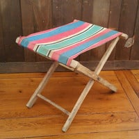Vintage Folding Wood Camp Stool With Striped Fabric Seat Great Portable Seating Perfect Small End Table