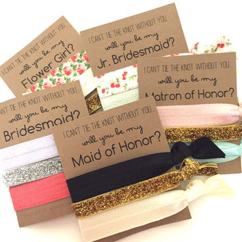Will You Be My Bridesmaid | Bridesmaid Proposal Hair Tie Set | Set of 3 Hair Ties