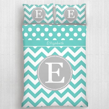 Custom Chevron Monogrammed Duvet Cover Pillow Cover  Personalized Monogram-Twin, Full,Queen, King