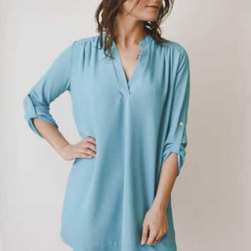 V-Neck Dress - Teal