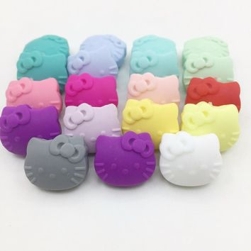 20pieces/lot Cartoon Hello Kitty Silicone Beads Baby Teething Beads Safe Food Grade Nursing Chewing Cat Kitty Silicone Beads