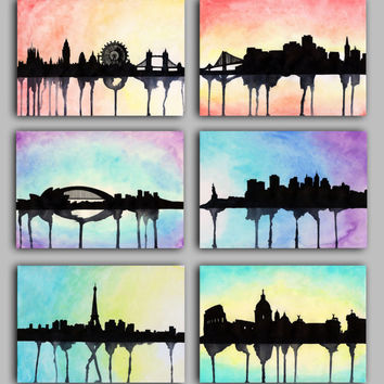 Watercolour City Series, London, New York, Paris, Rome, Sydney, San Francisco, Paint the Moment Prints