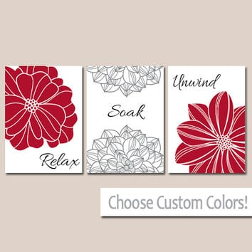 BATHROOM DECOR Wall Art Canvas or Print Flower Home Bathroom Pictures Red Black Gray Relax Soak Unwind Quote Words Flower Artwork Set of 3