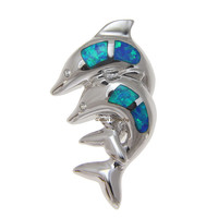 INLAY OPAL DOUBLE HAWAIIAN DOLPHIN POLISH SHINY HEAVY SILVER 925 SLIDER PENDANT
