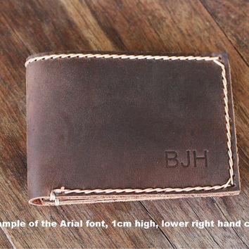 PERSONALIZED WALLET ---- Ultra Slim Men's Leather Wallet - 024 - Embossed Leather Groomsmen Gifts