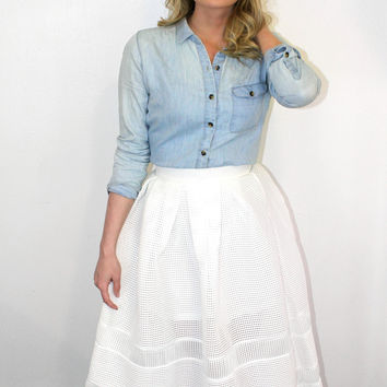"""Full Skirted"" Structured White Skirt"
