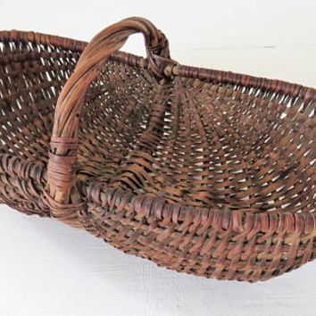 Antique French, Miniature, Buttocks Basket, Splints
