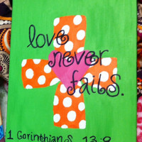 Love Never Fails Polka Dot Cross Painting by DesignedByTwo on Etsy