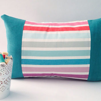 Rainbow Striped Pillow Pastel Cushion Teal Aqua Turquoise Corduroy Pillow Cover Girly Pillow Cozy Pillow Decorative Cushion Apartment Decor