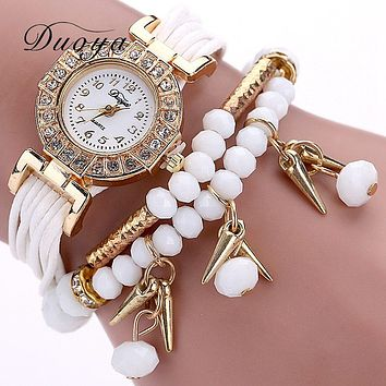 Fashion Women Dress Watch Pearl Crystal Stone Ladies Bracelet Watch Multilayer Luxury Quartz Wristwatch