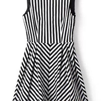 Black and White Sleeveless V-Neckline Vertical Stripe Skater Dress