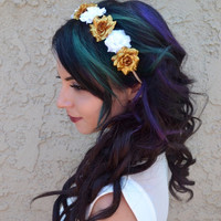 Gold & White Flower Headband #C1013